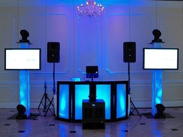 DJ set up blue